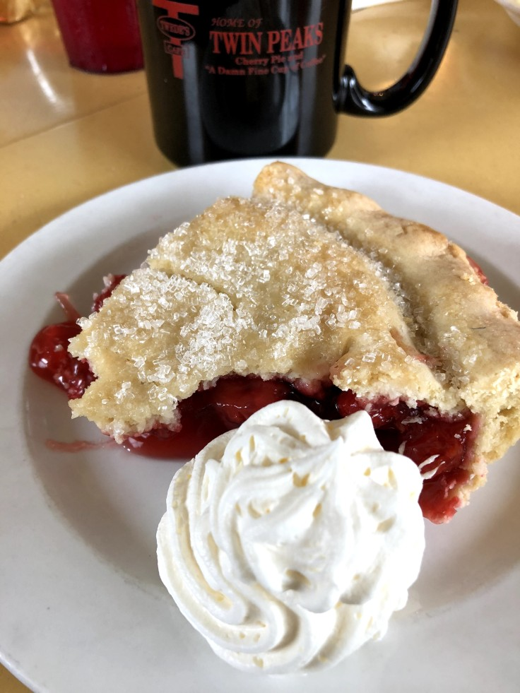 Cherry pie and cup of Joe