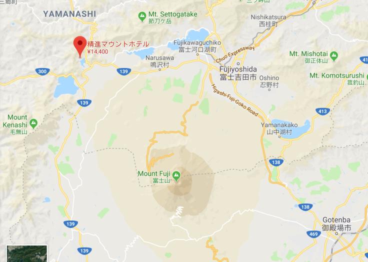Il Monte Fuji circondato dai cinque laghi, Google Maps