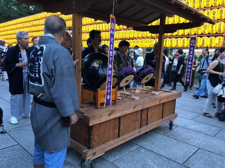 Taiko che accompagnano la processione