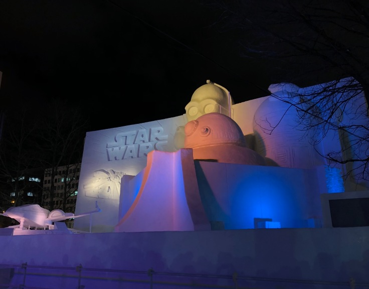 Star Wars ice sculpture illuminated